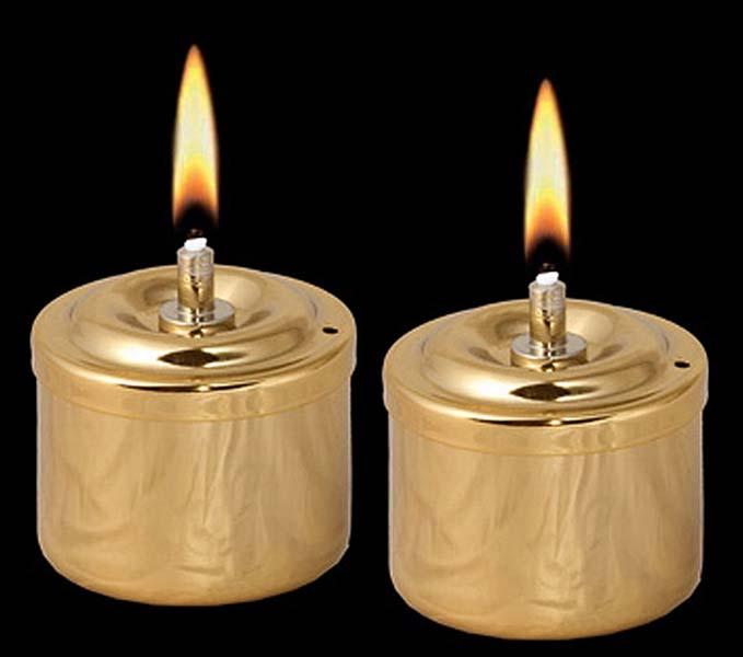 Zwei Goldene Öllampen aus Edelstahl Öllampe