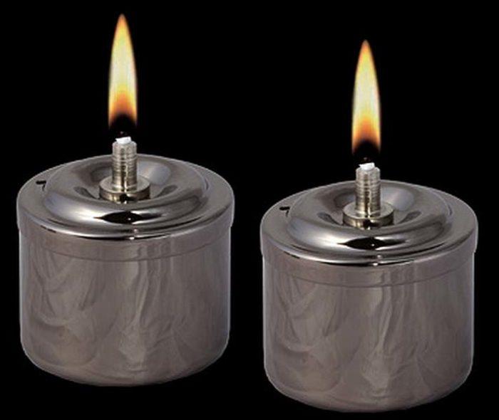 Zwei Rauchsilberne RVS Öllampen Öllampe