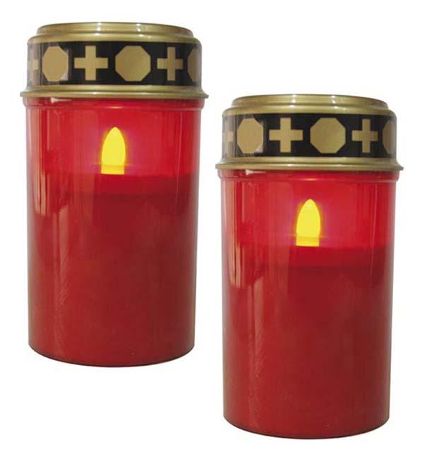 Zwei Rote LED – Novene Kerzen LED-Kerzen