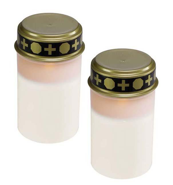 Zwei Weiße LED – Novene Kerzen mit Timer LED-Kerzen