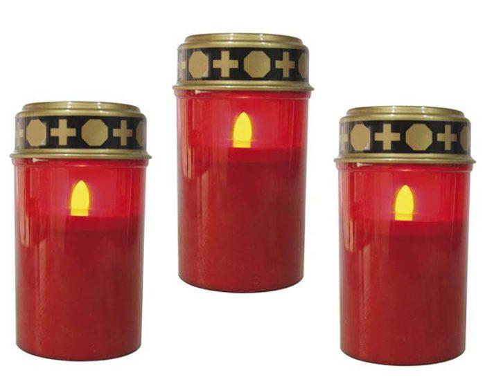 Drei Rote LED – Novene Kerzen mit Timer LED-Kerzen