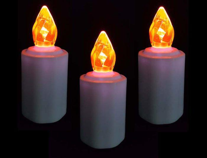 Drei Wasserdichte LED-Kerzen, Orange Flamme LED-Kerzen