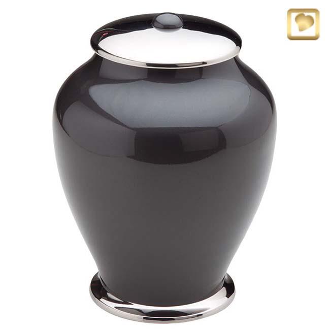 Große ´LoveUrns´ Simplicity Urne Schwarz-Silber (3,7 Liter) Messing Einfachheit Urnen