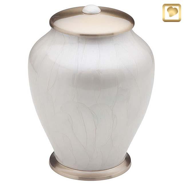 Große ´LoveUrns´ Simplicity Urne WeißeMarmor (3,7 Liter) Messing Einfachheit Urnen