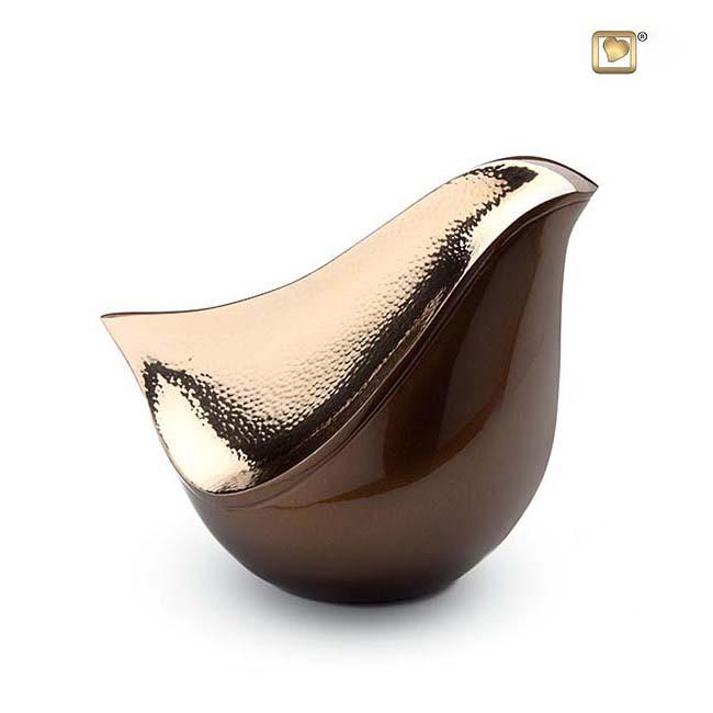 LoveBird Urne Golden-Braun – Gehämmertes Gold (1,6 Liter) Messing Love Bird Urnen