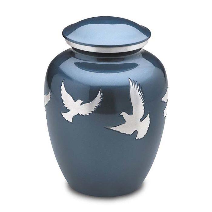 Große LoveUrne Göttliche fliegende Tauben (3,4 Liter) Messing Love Bird Urnen