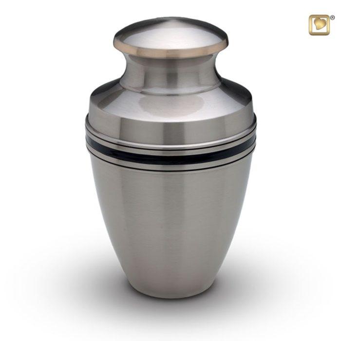 Große LoveUrns Urne Mattsilber Schwaze Zierbänder (3,8 Liter) Messing Love Bird Urnen