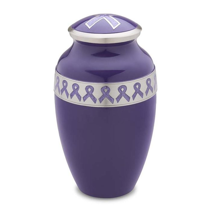 Große LoveUrns Urne Lila Schleife (3,1 Liter) Messing Love Bird Urnen