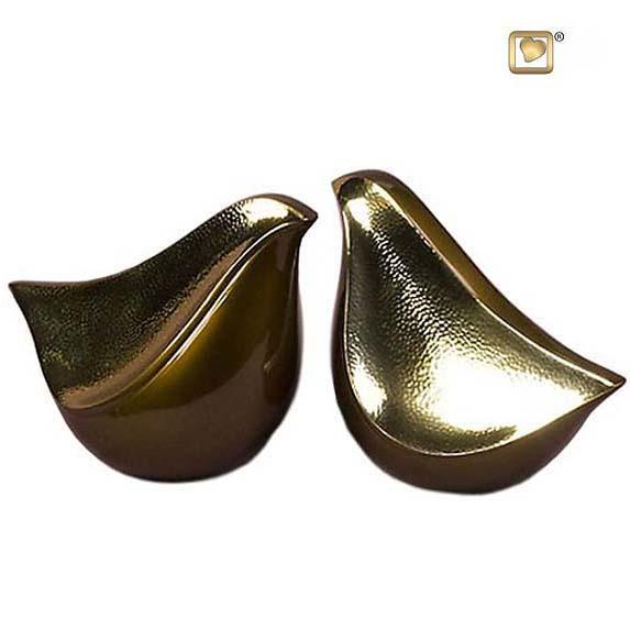 Duo LoveBird Urne Golden-Braune – Gehämmertes Gold (2 x 1,6 Liter) Messing Love Bird Urnen