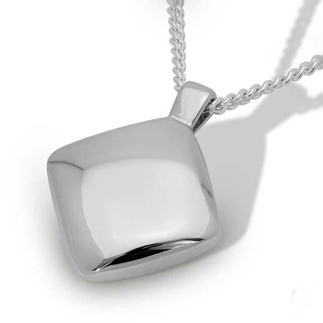 Silberner Ascheanhänger Diamant Glänzend Rechteckiger Ascheschmuck