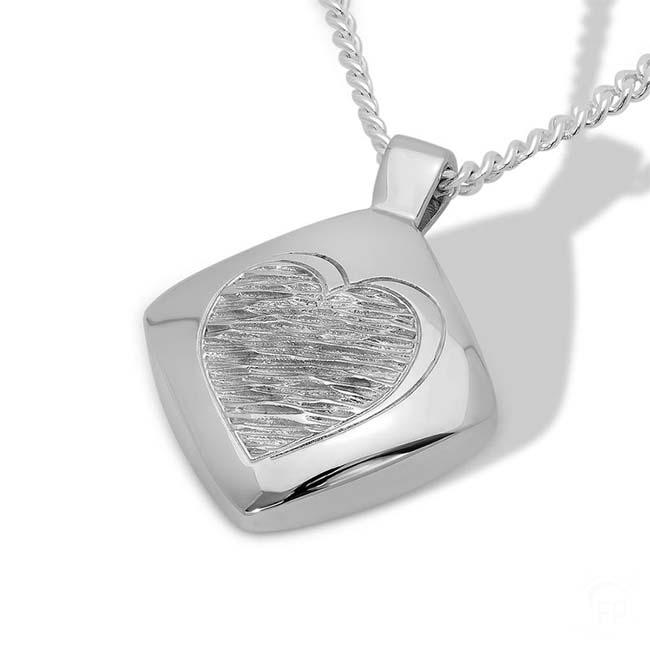 Silberner Ascheanhänger Diamant mit gewelltem Herzen Rechteckiger Ascheschmuck
