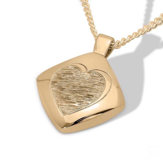Goldener Ascheanhänger Diamant mit gewelltem Herzen Rechteckiger Ascheschmuck