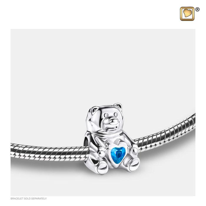 Ascheperle ´LoveUrns´ Teddybear Blau Kristall Ascheperlen