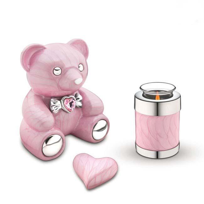 LoveUrns Tierurne Rosa Teddybear (1,15 Liter) Mikro-Tierurnen aus Messing