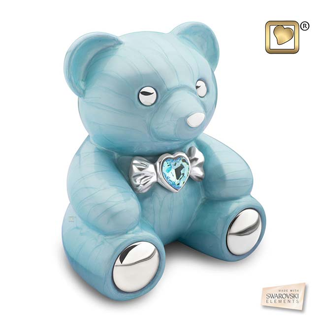 LoveUrns Tierurne Blau Teddybear (1,15 Liter) Mikro-Tierurnen aus Messing
