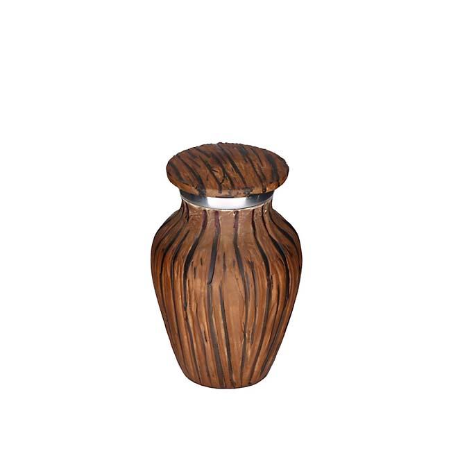 Eleganz Herz Mini Urne Dunkel Holzlook (0,1 Liter) Günstige Urnen