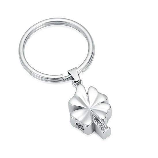 Schlüsselanhänger mit Ascheziel Kleeblatt Zirkonia Silber Kleeblattförmiger Ascheanhänger