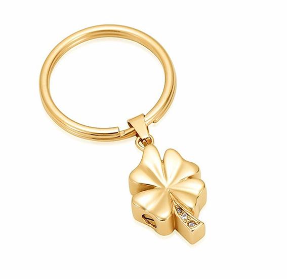 Schlüsselanhänger mit Ascheziel Kleeblatt Zirkonia Gold Kleeblattförmiger Ascheanhänger