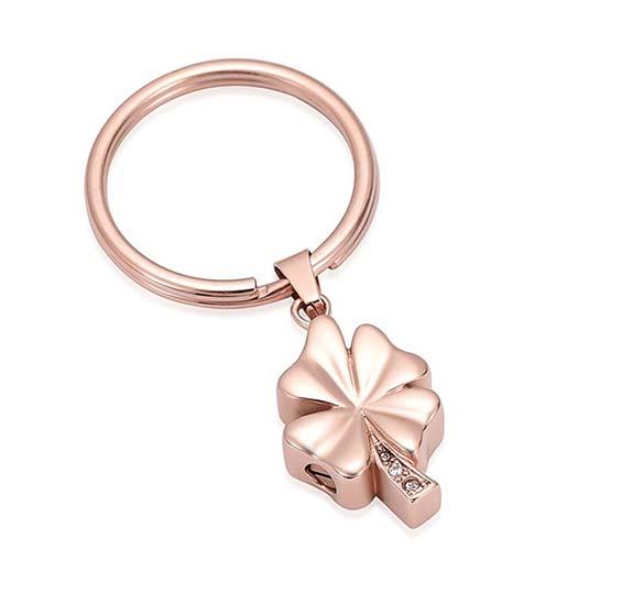 Schlüsselanhänger mit Ascheziel Kleeblatt Zirkonia Rosagold Kleeblattförmiger Ascheanhänger