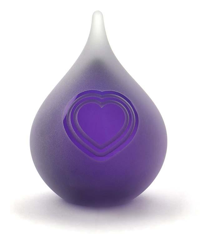 Blase Träne Tierurne Schlagen Herz Gefrostet Lila (0,12 Liter) Tierurnen aus Glas