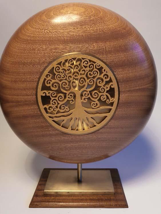 Extra Große Gold Design Urne auf Sockel (7,0 Liter) Holz Design Urnen
