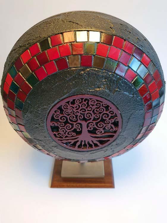 Mittelgroße Indische Design Urne auf Sockel (2,0 Liter) Holz Design Urnen
