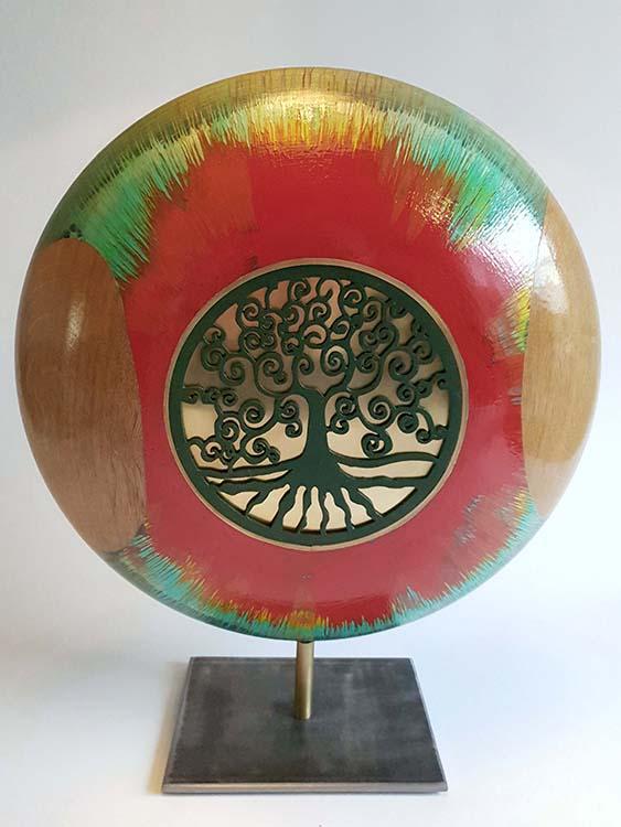 Große Roter Fluss Design Urne auf Sockel (3,5 Liter) Holz Design Urnen