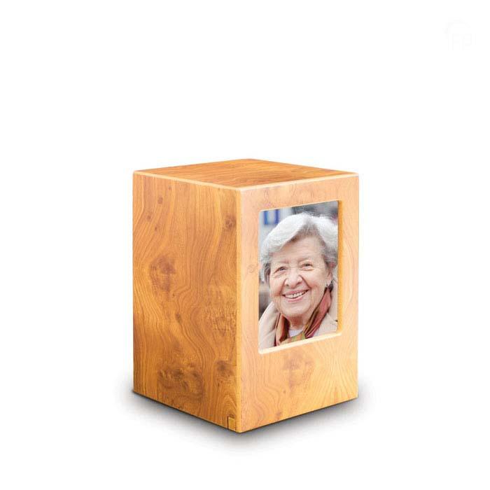 Große MDF FotoBox Tierurne Kiefer (3,5 Liter) Hölzerne Tierurnen Photobox