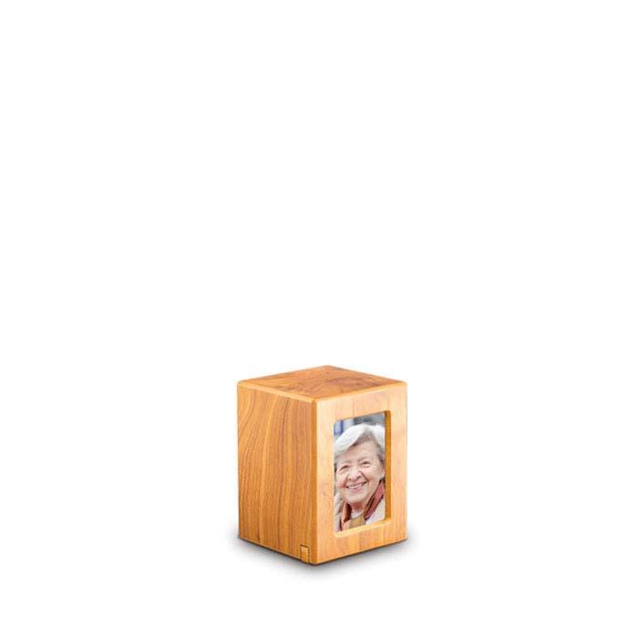 Mini MDF FotoBox Tierurne Kiefer (0,3 Liter) Hölzerne Tierurnen Photobox