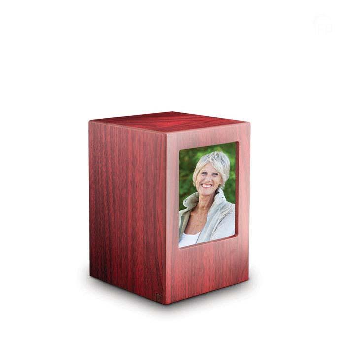 Große MDF Fotobox Tierurne Mahagon (3,5 Liter) Hölzerne Tierurnen Photobox