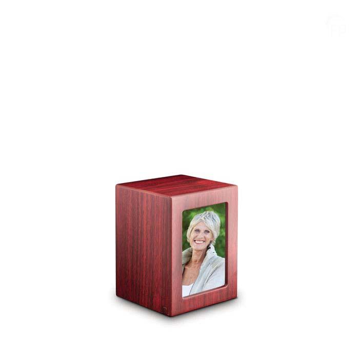 Kleine MDF Fotobox Tierurne Mahagon (1,5 Liter) Hölzerne Tierurnen Photobox