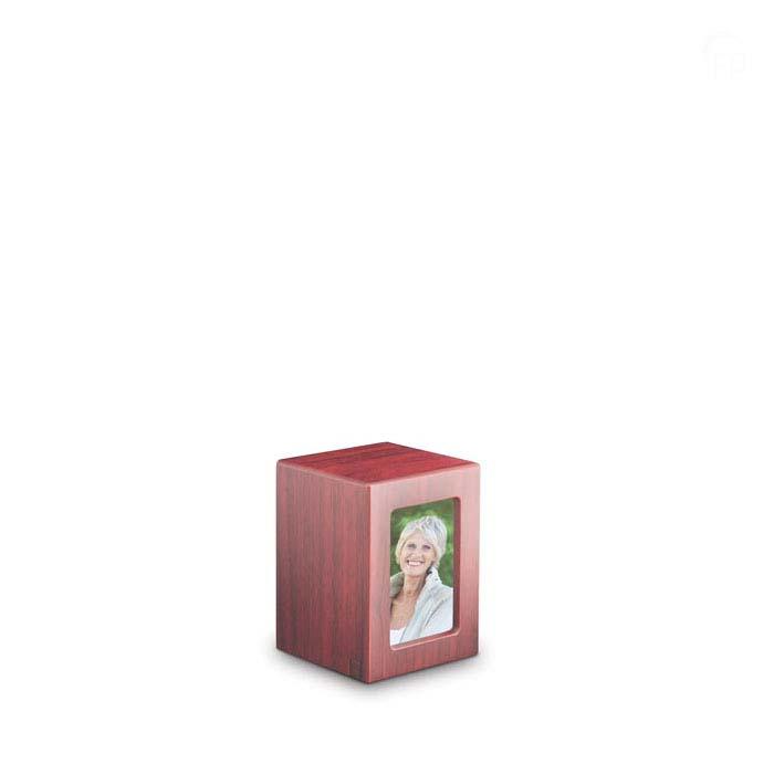 Mini MDF Fotobox Tierurne Mahagon (0,5 Liter) Hölzerne Tierurnen Photobox
