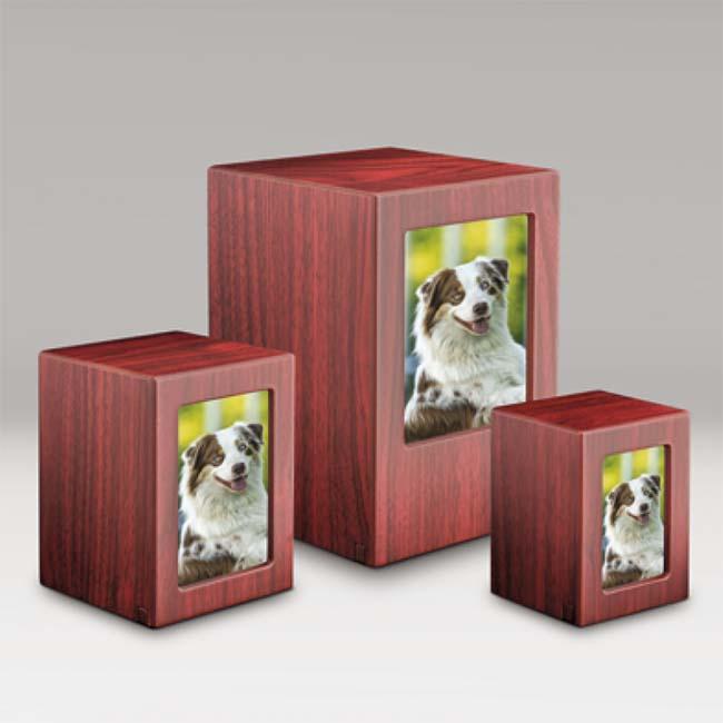 MDF Fotobox Tierurne Mahagon Vorteilset (5,3 Liter gesamt) Hölzerne Tierurnen Photobox
