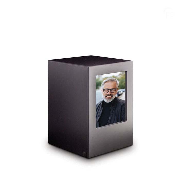 Große MDF Fotobox Tierurne Anthrazit (3,5 Liter) Hölzerne Tierurnen Photobox