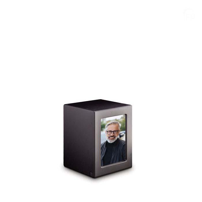 Kleine MDF Fotobox Tierurne Anthrazit (1,5 Liter) Hölzerne Tierurnen Photobox