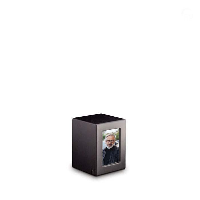 Mini MDF Fotobox Tierurne Anthrazit (0,3 Liter) Hölzerne Tierurnen Photobox