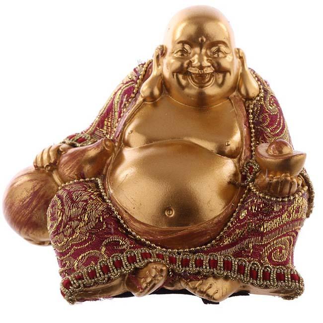 Bekleideter Glücklicher Buddha Mini Urne Shiny Gold (0,15 Liter) Buddha Urnen