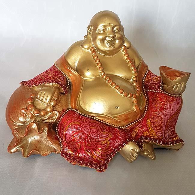 Bekleideter glücklicher Buddha Urne Shiny Gold (1,0 Liter) Buddha Urnen