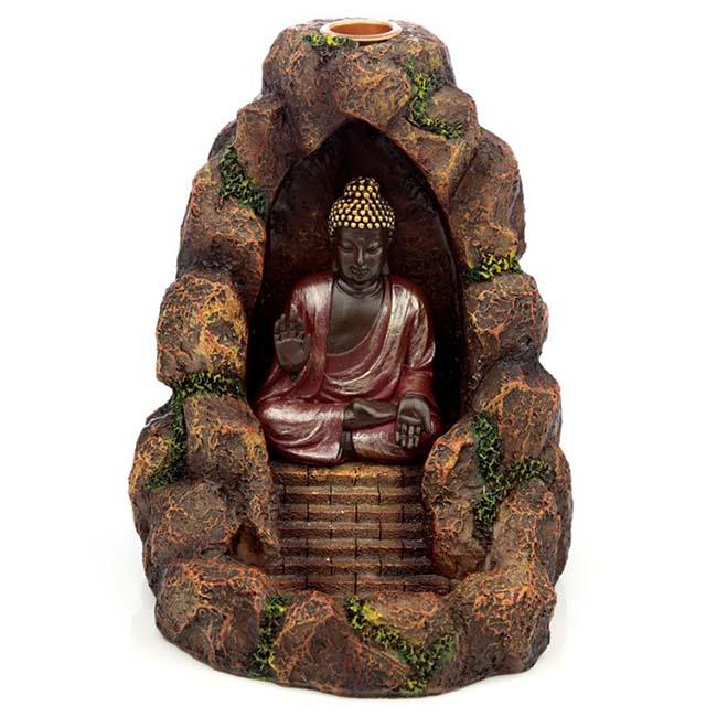 Amithaba Cave Tierurne, Rückfluss Räucherstäbchenhalter (0,5 Liter) Tierurnen Buddha