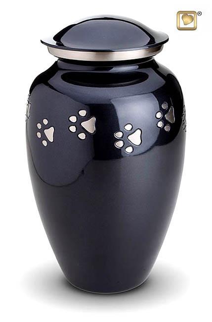 XL Tierurne Kobalt-Grau Silberne Pfotenabdrücke (3,0 Liter) Tierurnen mit Pfötchenabdruck