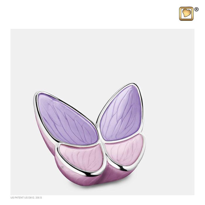 Mini LoveUrns Schmetterlinge Tierurne Rosa (0,05 Liter) Schmetterlinge für Asche aus Messing