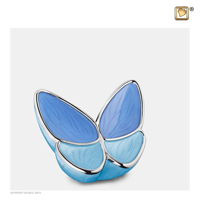 Mini LoveUrns Schmetterlinge Tierurne Blau (0,05 Liter) Schmetterlinge für Asche aus Messing