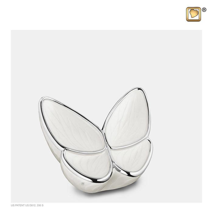 Mini LoveUrns Schmetterlinge Tierurne Weiß (0,05 Liter) Schmetterlinge für Asche aus Messing