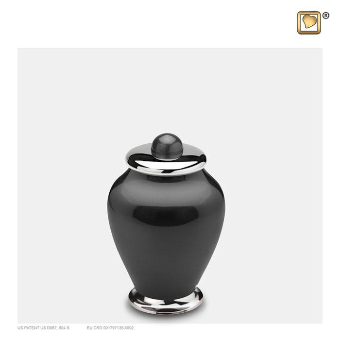 LoveUrns Mini Einfachheit Urne Schwarz-Silber (0,075 Liter) Messing Einfachheit Urnen