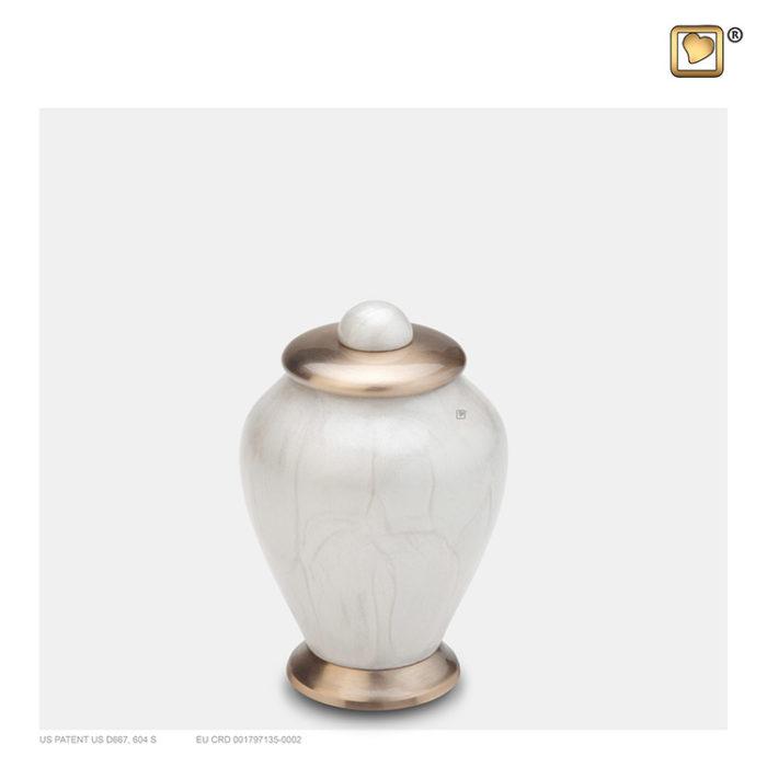 LoveUrns Mini Einfachheit Urne WeißeMarmor (0,075 Liter) Messing Einfachheit Urnen