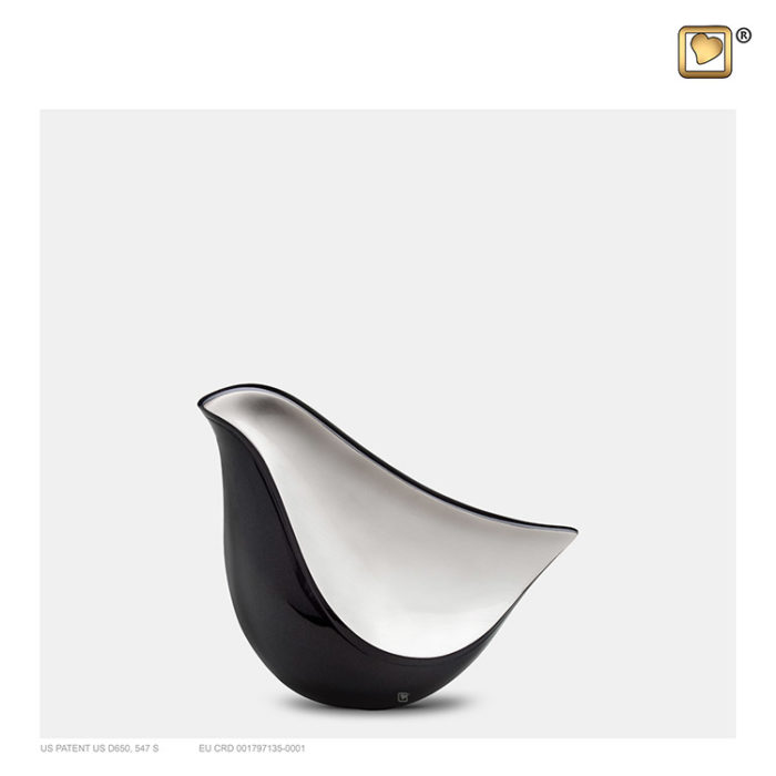 Mini LoveBird Urne Mittelnachtschwarz-Silber (0,05 Liter) Messing Love Bird Urnen