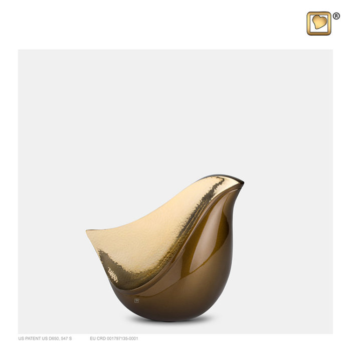 Mini LoveBird Urne Golden-Braun Gehämmertes Gold (0,05 Liter) Messing Love Bird Urnen