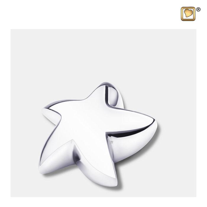 Mini LoveUrns Stern Urne Glänzendes Silber (0,045 Liter) Messingkleinurne Stern