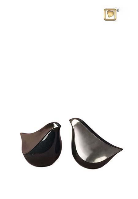 LoveBird Mini Urne Vorteilset Mittelnachtschwarz Mattsilber (2 x 0,05 Liter) Messing Love Bird Urnen