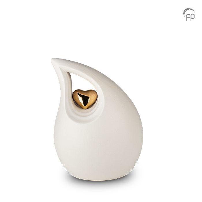 Kleine Keramische Träne Urne Weiß Goldenes Herz (2,2 Liter) Träne Urnen